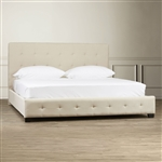 King Taupe Fabric Upholstered Bed with Padded Tufted Headboard
