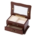 Glass Window Top Keepsake Jewelry Box in Medium Brown Wood Finish