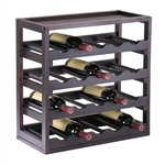20-Bottle Wine Rack Stackable Modern Style in Espresso