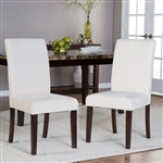 Set of 2 Light Beige Padded Microfiber Dining Chairs