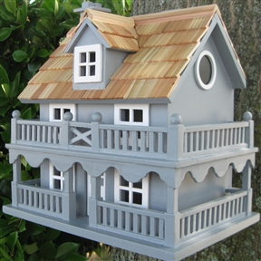 Light Blue Wooden Cottage Bird House with Removeable Back