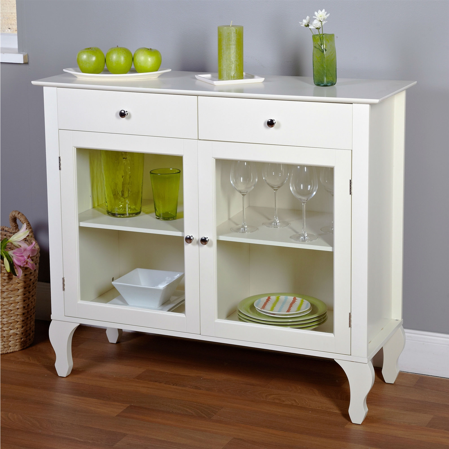 White Kitchen Buffet: Antique White Sideboard Buffet Console Table With Glass