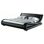 California King Modern Black Faux Leather Upholstered Platform Bed