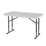 Adjustable Height 4-Foot Commercial Folding Table with White HDPE Top