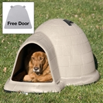 Large 43.8-inch Igloo Shape Weather Resistant Dog House in Tan