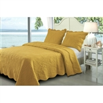 King Amber Waves Sea Story 3 Piece Quilt Set in Gold