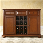 Cherry Wood Dining Room Storage Buffet Cabinet Sideboard with Wine Holder