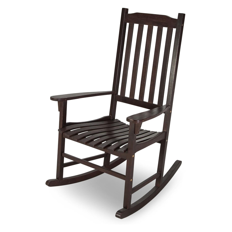 Indoor Outdoor Dark Brown Slat Rocking Chair