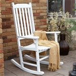 Indoor/Outdoor White Slat Rocking Chair