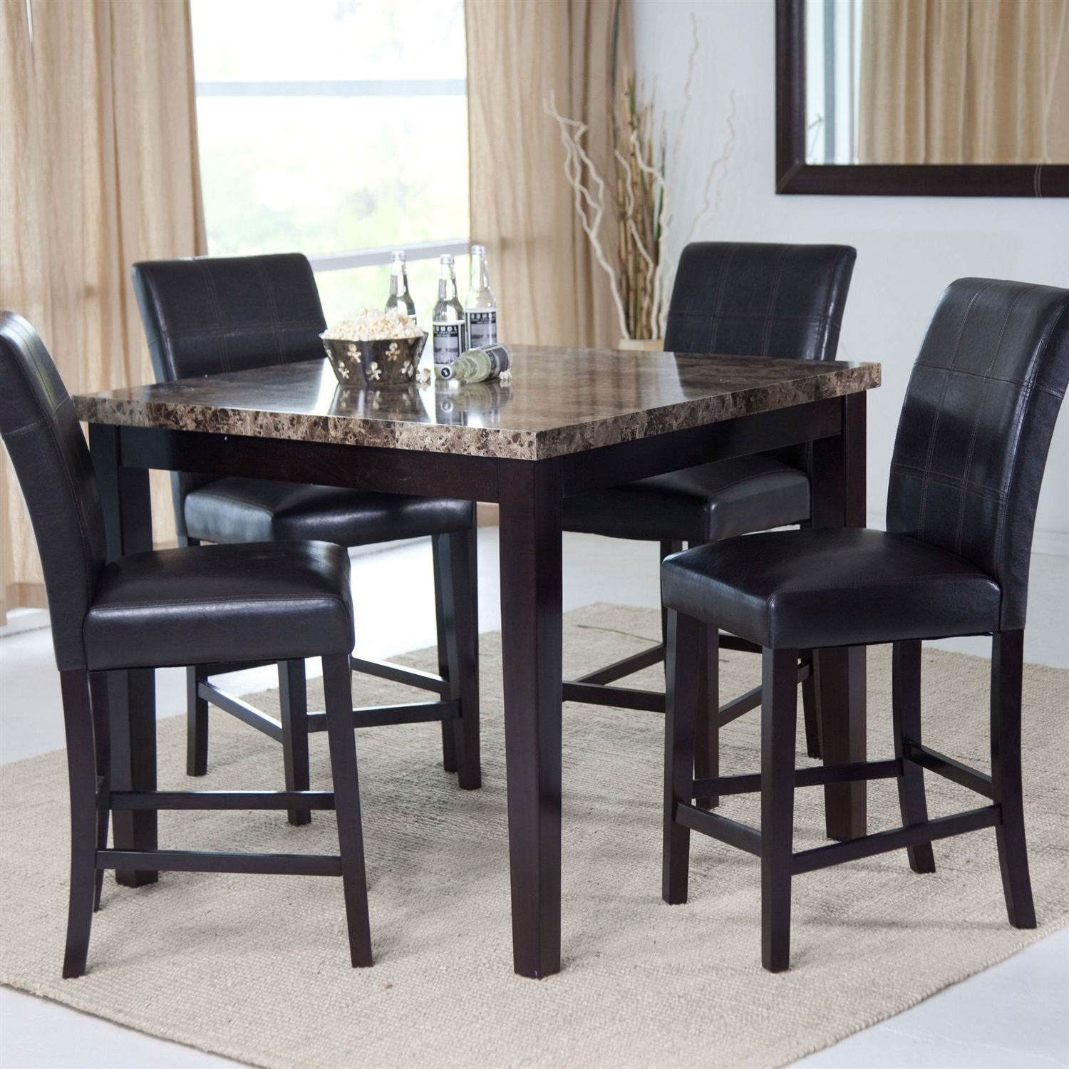 contemporary 42 x 42 inch counter height dining table with faux marble top. Black Bedroom Furniture Sets. Home Design Ideas