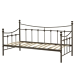 Twin size Contemporary Dark Brown Metal Daybed with Wood Slats