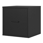 Modular File Cabinet Storage Cube in Black Wood Finish