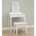 Contemporary White Vanity Set with Beveled Mirror