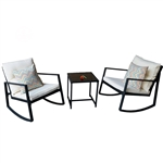 Black Outdoor 3-Piece Patio Furniture Set with 2 Rocking Chairs White Cushions and Coffee Table