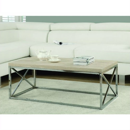 Chrome Coffee Table With Wood Top: Contemporary Chrome Metal Coffee Table With Natural Finish