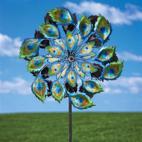 Peacock solar multi color wind spinner outdoor lawn garden decor - Garden solar decorations ...