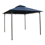 10Ft x 10Ft Outdoor Garden Gazebo with Iron Frame and Navy Blue Canopy