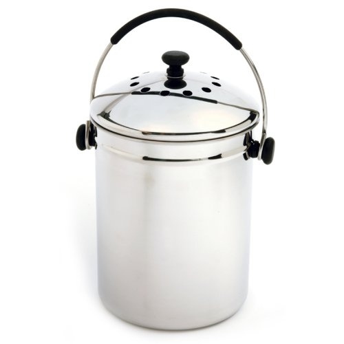 stainless steel kitchen compost keeper bin with charcoal