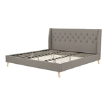 King Grey Linen Upholstered Wing-Back Platform Bed Mid-Century Style
