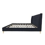 King Mid-Century Style Navy Blue Linen Upholstered Wingback Platform Bed