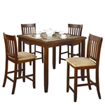 Casual 5-Piece Dining Set with Microfiber Padded Counter Height Stools