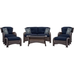 Outdoor 6-Piece Resin Wicker Patio Furniture Lounge Set with Navy Blue Seat Cushions