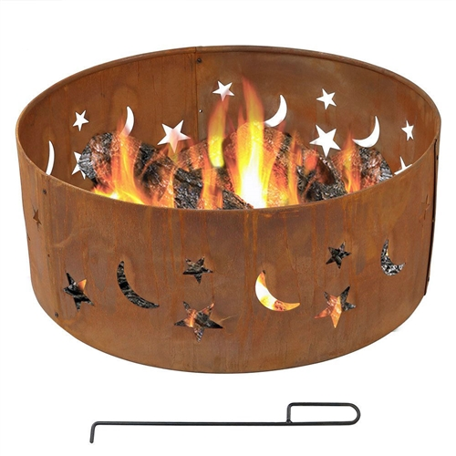 Moon Stars 30-inch Round Steel Outdoor Fire Pit with Rust-like Finishv