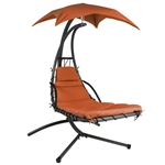 Orange/Red Single Person Modern Chaise Lounger Hammock Chair Porch Swing