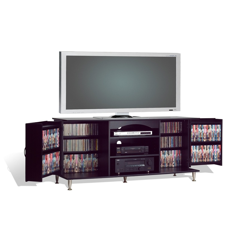 60 inch plasma tv stand with media storage in black finish. Black Bedroom Furniture Sets. Home Design Ideas