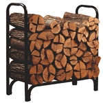 Black Powder Coated Steel Firewood Log Rack - 4ft
