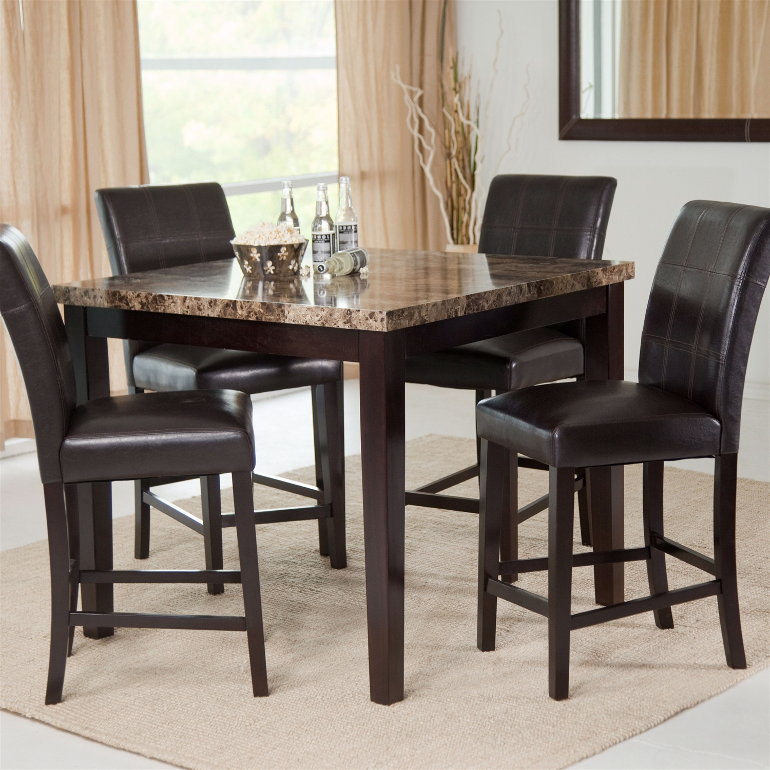 Counter Height 5 Piece Dining Set With Faux Marble Top Table And 4 Faux  Leather
