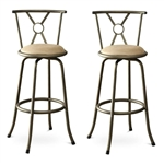 Set of 2- Adjustable Height Padded Seat Barstools