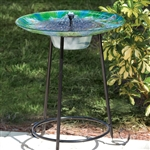 Outdoor Garden Solar Fountain Bird Bath with Peacock Glass Basin and Steel Stand