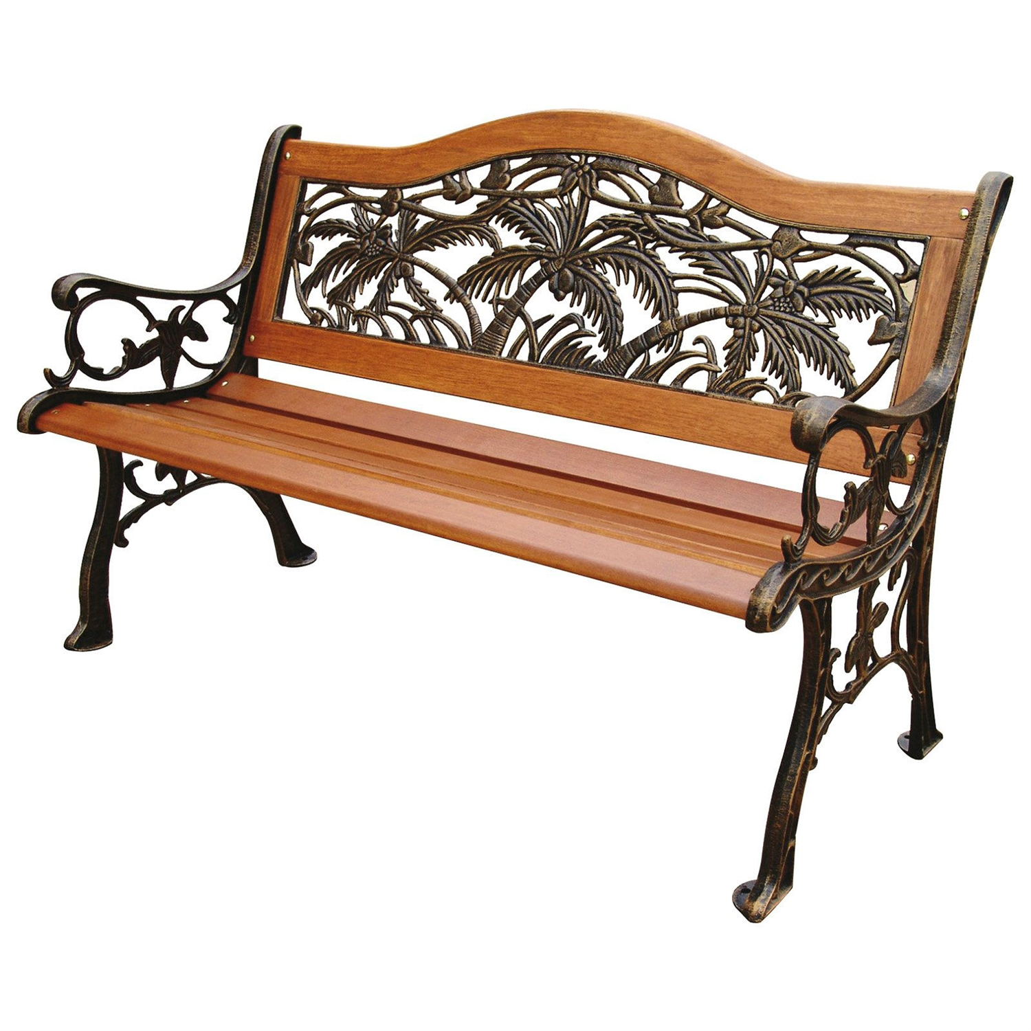 Classic Outdoor 4 Ft Wood Metal Garden Bench With Bronze Palm Tree Design