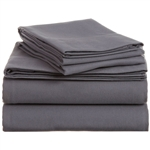 Queen size 100-Percent Cotton Velvet Flannel Sheet Set in Graphite
