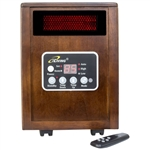 Infrared Space Heater 1500W with Remote w/ Dark Walnut Wood Cabinet