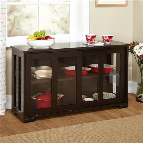 Espresso sideboard buffet dining kitchen cabinet with 2 glass sliding doors - Dining room buffet cabinet ...