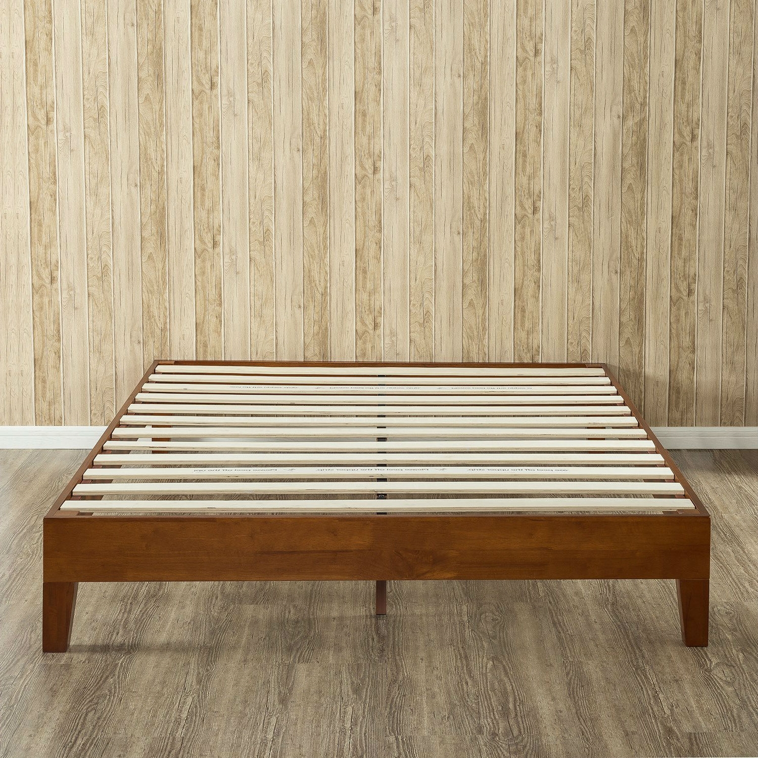 queen size solid wood low profile platform bed frame in cherry finish - Wood Platform Bed Frame