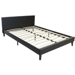 Queen size Black Faux Leather Platform Bed with Headboard