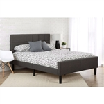 Queen size Dark Grey Upholstered Platform Bed with Headboard and Footboard
