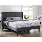 Queen size Grey Wingback Upholstered Platform Bed