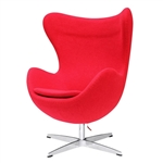 Modern Egg Shaped Red Wood Fabric Upholstered Arm Chair