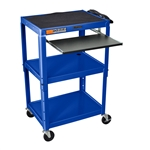 Mobile Stand Up Computer Cart Workstation Desk in Royal Blue
