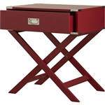 Modern 1-Drawer French Dovetail End Table Nightstand in Red Wood
