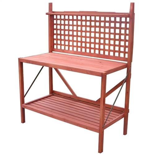 Outdoor folding wooden potting bench garden trellis with - Potting bench with storage ...
