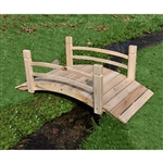 4-Ft Garden Bridge with Rails in Cedar Wood