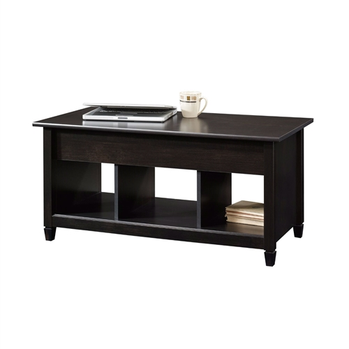 Black Wood Finish Lift Top Coffee Table With Bottom Storage Space