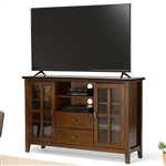 Medium Brown Solid Wood Tall TV Stand for TV's up to 60-inch