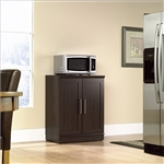 Contemporary Kitchen Storage Microwave Cabinet in Dark Oak