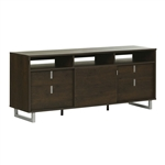 Contemporary TV Stand in Brown Oak Finish and Satin Nickel Metal Legs